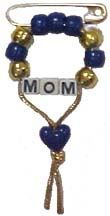 Pony Bead Mother's Pin blue and gold