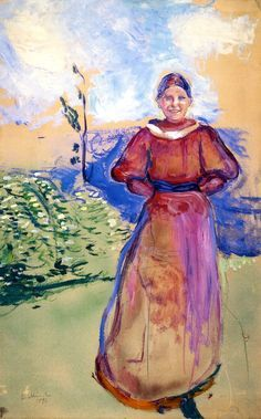 Inger in a Red Dress - Edvard Munch BTW, Please Check Out This Artist's work: -- http://universalthroughput.imobileappsys.com/site2/gallery.php