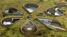 Flower-shaped underground home.