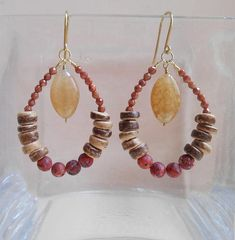 Meline rustic boho gemstone earrings brown red beaded hoop dangle drop earrings agate jasper goldstone gold fill Christmas gift for her-Earthy, rustic and with a bohemian allure, Meline beaded hoop earrings are the perfect accent to all your favourite out