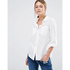 Oasis Casual Shirt (€39) ❤ liked on Polyvore featuring tops, white, white pocket shirt, white tops, cotton shirts, oasis shirt and white shirt