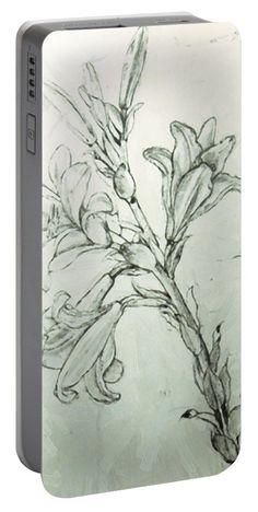 Leonardo Da Vinci Portable Battery Charger featuring the digital art Leonardo Da Vinci - Drawing Of Lilies For An Annunciation by PixBreak Art