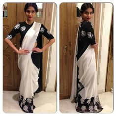 Sonam Kapoor looked beautiful in this black & white Masaba saree at a movie promotional event. How do you rate this look ? Bollywood Lehenga, Bollywood Dress, Bollywood Fashion, Indian Celebrities, Bollywood Celebrities, Online Dress Shopping, Girls Shopping, Indian Couture, Sonam Kapoor
