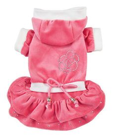 Soft Good Small Girl Dog Clothes Princess Cake Flower Hoodie Dress For Winter