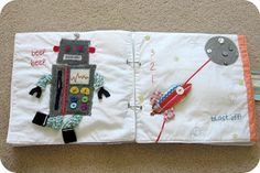 Cute robot and rocket quiet book pages