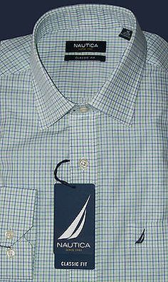 Nautica Classic Fit Check Dress Shirt 16  34 35 NWT