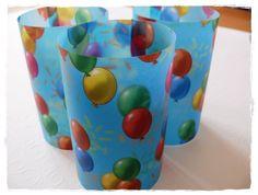 3x Windlicht Tischlicht Transparentpapier Ballons