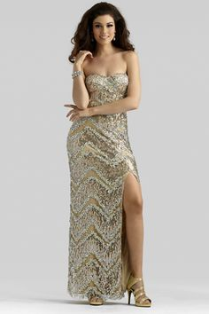 Clarisse 2014 Taupe Strapless Sweetheart All Beaded Long Prom Gown 2376 | Promgirl.net