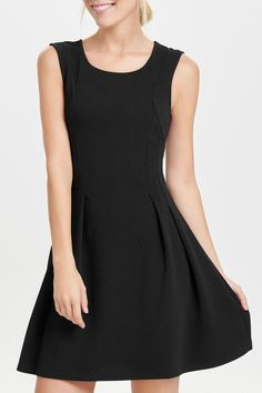 Simple ladies sleeveless dress with a round neck and zipper closer at the back. Material is very stretchy.   Sahara Solid Dress  by ONLY. Clothing - Dresses - Work Canada