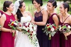 Bride and Bridesmaids Mismatched Dresses Burgundy | bay-area-wedding-photographer-canyon-view