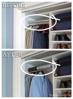 Before and After Closet with Xangar Spacer Organizers