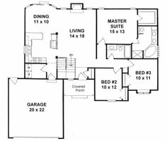 Plan # 1406 - Ranch | First floor plan, like the  floor plan. need another garage.  Not so sure on outside.