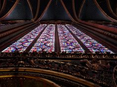 Stained glass windows inside Sainte-Chapelle (Holy Chapel), a royal medieval Gothic chapel, in the center of Paris. Photo by Brian Kaylor.