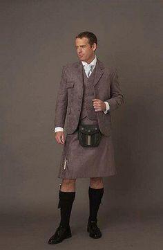 tweed kilt - classy. Like if Dr. Who wore a kilt.