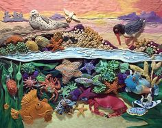 Who lives in the Tide pool? Won SCBWI Magazine Merit Award Denver Polymer Clay Embroidery, Polymer Clay Kunst, Plasticine, Play Clay, Tide Pools, Sculpture Clay, Art Classroom, Art Plastique, Clay Creations