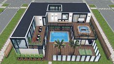 The Sims Free Play - House - Reklamlar Play Roblox™ Online Sims 4 House Plans, Sims 4 House Building, Pool House Plans, Dream House Plans, Casas The Sims Freeplay, Sims Freeplay Houses, Sims 4 Houses, Sims 4 Modern House, Sims 4 House Design