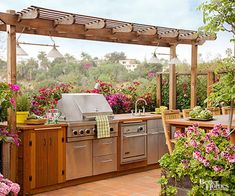 You don't need a lot of space for an outdoor kitchen -- you just need your space to be functional. Browse pictures of outdoor kitchen designs, outdoor kitchen plans, and outdoor kitchen essentials for ideas to create a beautiful, functional alfresco dining space. Cooking outside is a welcome change from the usual routine, and it's just as easy as to cook in an outdoor kitchen as it is in an indoor one. Place an outdoor kitchen near your indoor one so it's easy to carry food items back and…