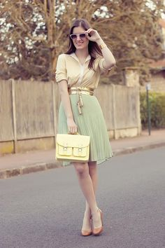 Think vintage pastel spring... Shop this look on Kaleidoscope (blouse, skirt, purse)  http://kalei.do/W8wCfaEDvBzTPCoa