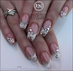 Luminous Nails: Clear Translucent Nails with Glistening Silver with Bling!...