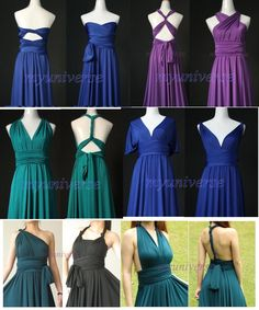<< bridesmaid dresses, I kind of would rather shy away from the different dresses, but these might be nice for the different body types, etc. >>