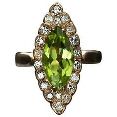 Late Victorian Peridot Diamond Gold Navette Ring