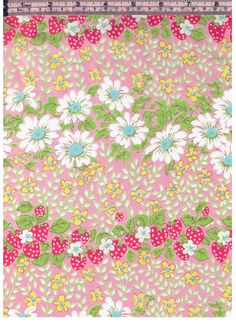 HALF YARD Yuwa - Rows on Strawberries and Daisies on PINK - Colorway B - Flowers, Daisy, Strawberry - Cotton Lawn - Japanese Import Fabric by fabricsupply on Etsy