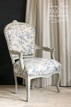 <p>Willow is a lovely ticking with soft stripes in blue and old white on grey cotton (shown here in the background). Suitable for light upholstery, this fabric works beautifully with Peking, Faded Roses in Blue, or on its own.</p> <p>Please email fabric@anniesloan.com for enquiries and fabric swatches.<p> <p>Pattern repeat: 12 cm</p> <p>Width: 280cm wide</p> <p>100% cotton</p> <p>Available in Europe</p> <p>Sold by the metre</p>