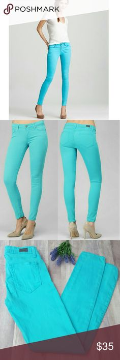 """Paige Verdugo Ultra Skinny Teal sz. 25 $179 A mid-rise, super stretch ultra skinny that hugs the leg down to the leg opening.  Rise: 8 1/8"""" Inseam: 30"""" Leg Opening: 10 1/4"""" 65% Lyocell/33% Cotton/2% Elsastane Paige Jeans Jeans Skinny"""