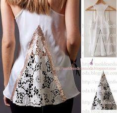 After - befor refashion biby creations Couture tutorial Shirt Refashion, Diy Shirt, Umgestaltete Shirts, Tight Shirts, Diy Kleidung, Diy Vetement, Altering Clothes, Clothing Hacks, Refashioning