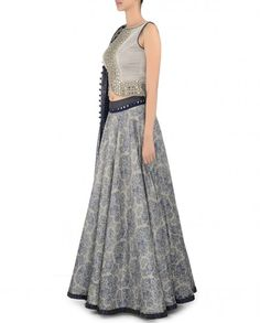 Navy Blue Printed Lengha with Mirror Work Blouse - Expressionist by Jaspreet - Designers