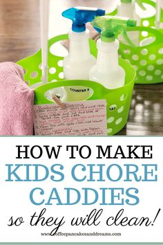 "Get your kids to do chores the ""right way"" by creating an inexpensive kids cleaning caddy. Grab supplies at the Dollar Store for an expensive cleaning bin! Homemade Cleaning Supplies, Best Cleaning Products, Cleaning Caddy, Cleaning Hacks, Cleaners Homemade, Diy Cleaners, Spring Cleaning Bathroom, Organized Mom, Chores For Kids"