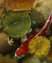 Terry Gilecki, artist, original koi fish paintings at White Rock Gallery
