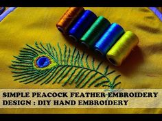 Peacock Feather Embroidery Design using simple hand embroidery is used to beautify the sleeves of my kurti. Peacock Embroidery Designs, Hand Embroidery Patterns Flowers, Basic Embroidery Stitches, Embroidery On Kurtis, Hand Embroidery Dress, Kurti Embroidery Design, Feather Design, Diy Design, Peacock Colors