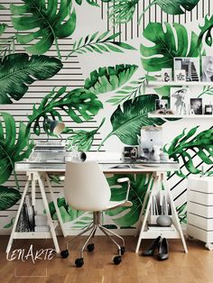 Falling Leaves on Stripes Wallpaper. Peel and Stick Reusable Floral Motif Wall Decoration. Removable Green Pattern Wall Mural. #green #pattern #wallmural #wallpaper #walldecor #interiordesign #interiors #homedecor #homedesign #modern #leaves #floral