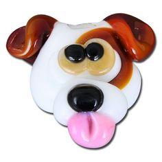16mm White and Brown Dog Head Handmade Lampwork Beads