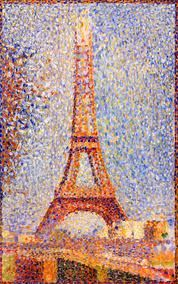 Georges Seurat's La Tour Eiffel, 1889 @ the Fine Arts Museum in SF.  Oh, I didn't know this one was in San Fran.  I should have visited it when I was up there.  Seurat is best known for Sunday Afternoon on the Island of La Grande Jatte, 1886, which I have seen at the Chicago Art Institute.  It's a really big painting.  I like this piece more because of its simplicity.  You can really appreciate the pointillism and what colors he uses to generate a sense of light and shadow.