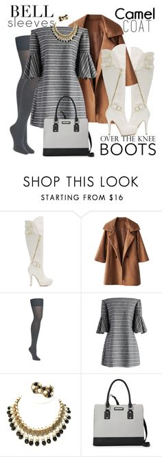 """""""wear misty for me"""" by ffendi ❤ liked on Polyvore featuring Chicwish, Hobé, Nine West, Boots, camelcoat and bellsleeves"""