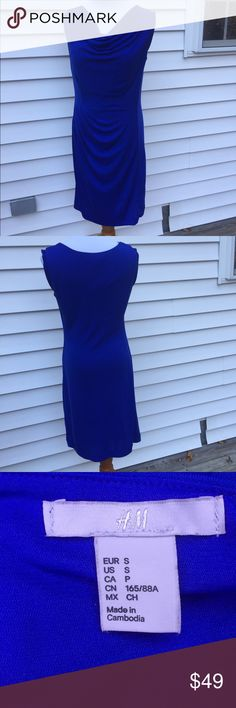 """H&M Cobalt Blue cowl neck sheath Gorgeous dress in a gorgeous color! • UC: minor staining and a few snags (attempted to picture) • flat lay bust: 18.5"""" length: 37"""" *approximate measurements laid flat* 💖Bundle and Save 💖 ✨All Offers Considered✨ H&M Dresses Midi"""