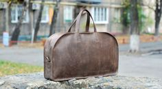 Handmade Leather Travel Bag Weekender Halldall von LeatherGoodsUA