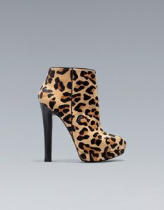 LEOPARD WIDE HEEL ANKLE BOOT - Shoes - Woman - ZARA United States