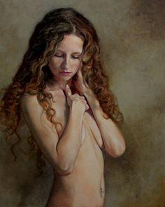 Nude Study III original oil classical nude portrait figurative portrait figure painting by Kimberly Dow