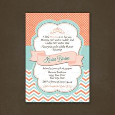 Princess Coral and Teal Chevron Baby Shower by PinkSkyPrintables, $12.00