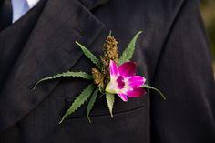 Weed ( marijuana, ganja) boutonniere at Borghinvilla Wedding Venue in Jamaica Photo by Manuela Stefan Photography