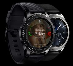Gear S3 classic and Gear S3 Frontier with call screen. In rose gold.