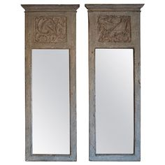 Pair of Spanish 18th Century Trumeau - Boiserie Panel Mirrors | From a unique collection of antique and modern trumeau mirrors at https://www.1stdibs.com/furniture/mirrors/trumeau-mirrors/