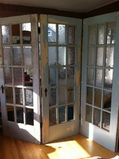 uses for french doors | have found that these old french doors (hinged together to form a ...