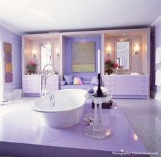 Pink + Purple Monochromatic Lavender: Jamie Drake, Hamptons Showhouse Villa Maria 2002 Money is anot Purple Home, Interior, Home, Color, Dream Bath, Purple Bathrooms, Purple Rooms, Bathroom Design, Beautiful Bathrooms