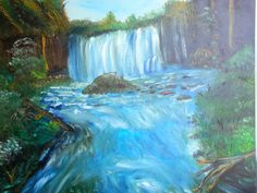 Sale 50 off Waterfall original oil painting 23 x 19 by artbymonika, £45.00