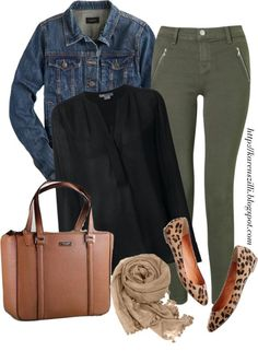 Fearlessly Authentic \\ Olive and Leopard Fall Outfit featuring a Kate Spade tote, leopard flats, olive skinny jeans, and a denim jacket (Chiffon Top Color Combos) Pantalon Vert Olive, Olive Pants Outfit, Green Jeans Outfit, Outfits With Green Pants, Outfits Pantalon Verde, Mode Outfits, Casual Outfits, Look Fashion, Autumn Fashion