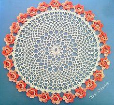 Tecendo Artes em Crochet: Toalhinha Rosetas Laranja